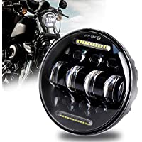 Faro delantero LED de 5-3/4 5.75 con luz blanca DRL para Harley Davidson Sportster Iron 883 Dyna Indian Scout