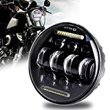 5-3/4 5.75 LED Headlight with White DRL Driving Headlight for Harley Davidson Sportster Iron 883 Dyna Indian...