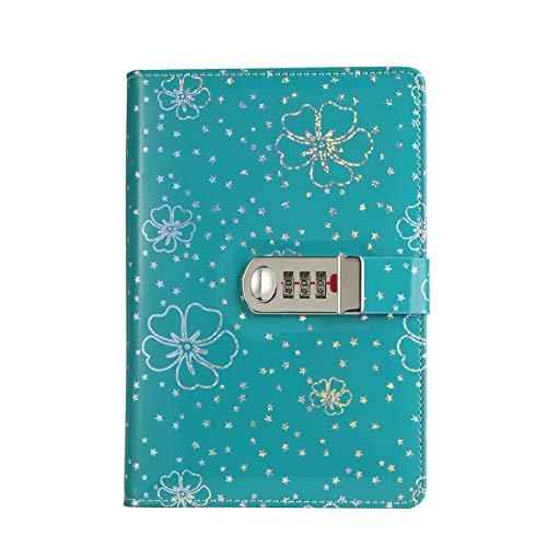Diario con cerradura de combinación, piel sintética, diario de viaje, contraseña, A5 A5: 20 x 10 cm (azul)