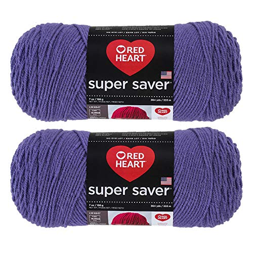Bulk Buy: Red Heart Super Saver (2-Pack) (Lavender, 7 oz Each Skein)