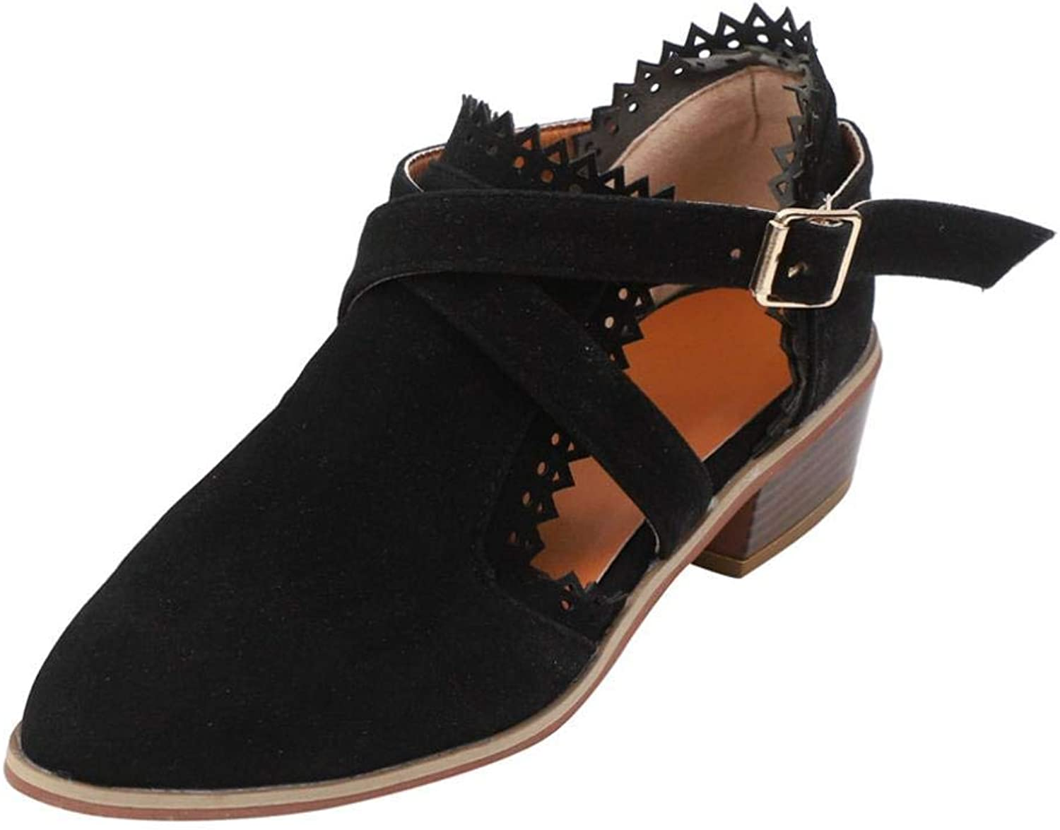 SUNNY Store Women's Ankle Bootie Low Heel Cut-Out Side Design