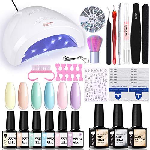 UR SUGAR 7.5ml UV Nagellack Pastell Mit 48W UV Lampe Set Shellac Kit Nail Art Tool Nageldesign Süßigkeiten Farbe Soak Off für Anfänger Geeignet Gelnägel Starterset