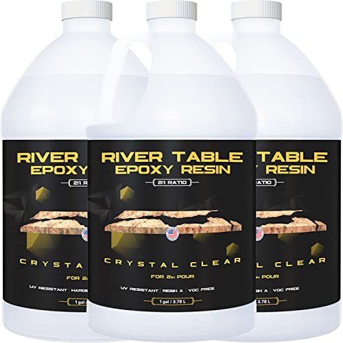 Epoxy Resin for River Table - 3 Gallon kit - UV Resistant Crystal Clear Epoxy Resin Kit - 2:1 Ratio for Deep Pour, Deep Casting Resin, Live Edge River Table (2 Gallon + 1 Gallon)