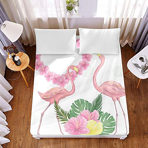 Bedding Fitted Sheets Extra Deep 30 cm, Morbuy Tropical Pink Flamingo Bedding Microfiber Soft Fade Resistant Bed Sheets for Single Double King Size, Only Bedsheet No Pillowcases (140 * 200 * 30cm,D)