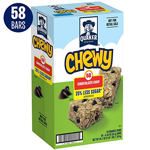 Quaker Chewy 25% Less Sugar Granola Bars, Chocolate Chip (58 Bars)