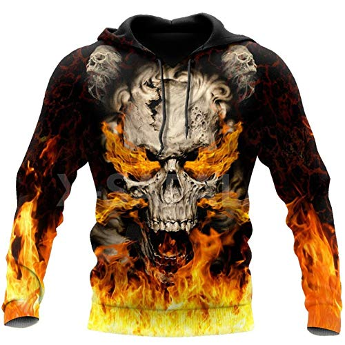 Cool Skulls On Fire Art 3D All Print Plus Hoodie Hombre Mujer Harajuku Outwear Zipper Pullover Sudadera 3D...