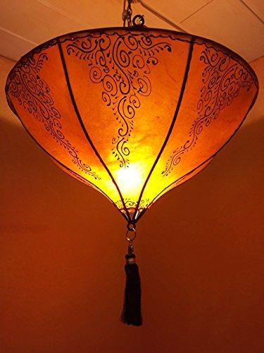 Oosterse lamp hanglamp dilay oranje 49 cm groot | Marokkaanse lederen lamp hennalamp lamp lamp met henna | Orient lampen voor woonkamer keuken of hangend boven de eettafel