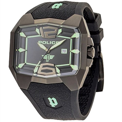 Police GS-PL-30THANN-JW - Reloj analógico de Cuarzo para Hombre con Correa de Silicona, Color Negro
