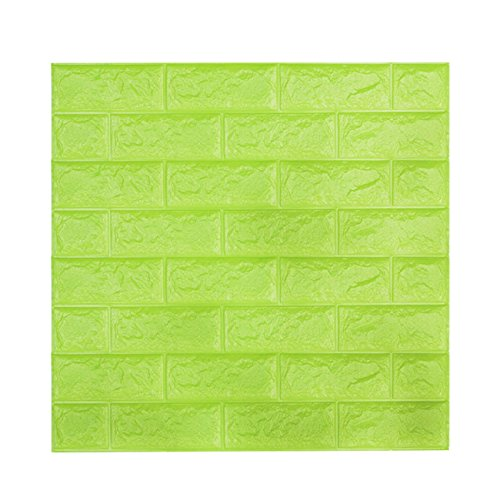 Wall Paper 5 Packs, Kasliny 3D Brick Wall Stickers Self-Adhesive Panel Decal PE Wallpaper - Peel and Stick Wall Panels for TV Walls, Sofa Background Wall Decor (19.35 sq.ft Brick Green)