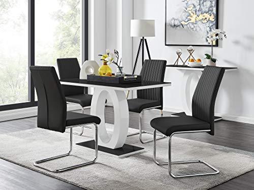 Furniturebox UK Giovani Black/White High Gloss Glass Dining Table Set and 4 Modern Lorenzo Chairs Set (Dining Table + 4 Black Lorenzo Dining Chairs)