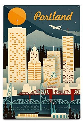 Lantern Press Portland, Oregon, Retro Skyline (12x18 Aluminum Wall Sign, Wall Decor Ready to Hang)