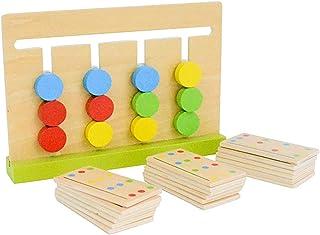 AMERTEER Preschool Learning Toys Slide Puzzle Color & Shape Matching Brain Teasers Logic Game Preschool Educational Wooden...