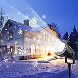 Wilktop Proyector de Navidad, Led Luces de Proyector de Jardín de Navidad para DJ Lámpara de Proyección Impermeable IP67 Luces de Navidad Al Aire Libre Copo de Nieve Blanco Nieve Motivos Dinámicos