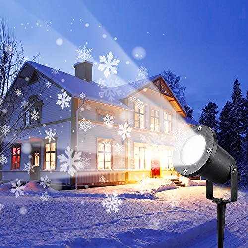 Wilktop Led Projektionslampe Weihnachtsbeleuchtung Led Projektor für Weihnachten/Halloween Projektionslampe Wasserdichte IP65 Weihnachtsbeleuchtung Außen LED für Familienfeiern,Party (Schneeflocke)
