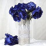 BalsaCircle 60 Navy Blue Silk Peony Flowers - 12 Bushes - Artificial Flowers Wedding Party Centerpieces Arrangements Bouquets Supplies