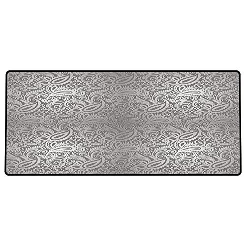 Alfombrilla de ratón para Juegos 600 x 300x3 mm,Plata, patrón de Paisley Tradicional Antiguo diseño de Azulejos Ornamentales Florales Reales Deco Base de Goma Antideslizante, Adecuada para Jugadores