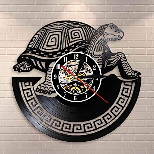 JXWH Orologio da Parete Moderno Tartaruga Marina tribù Animale Marino Orologio da Parete in Vinile Tartaruga Orologio da Parete Tartaruga Camera dei Bambini Nursery murale Regalo Tartaruga
