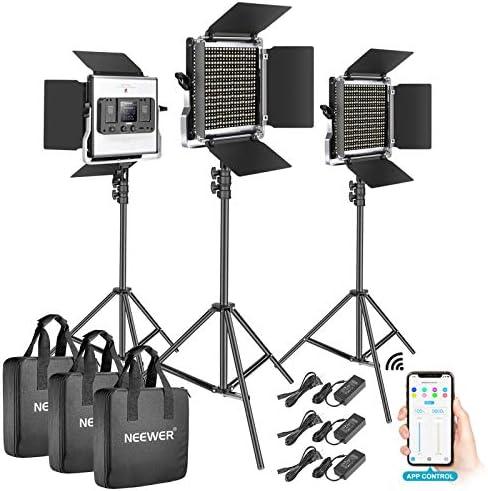 Neewer 3 Packs 528 LED Video Light Metal Dimmable Bi Color 3200K 5600K Photography Lighting product image