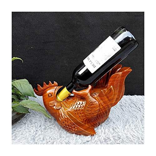 Dunflop 30 cm Gras Blume Birne Betrunken Hahn Rotwein Rack Massivholzschnitzerei Decor Bar Weinkeller Handwerk Dekoration