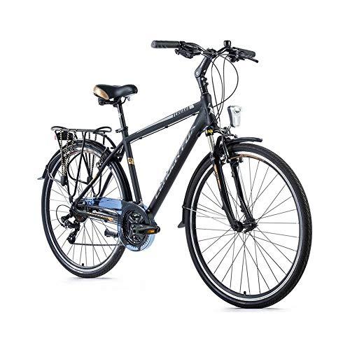 Fiets City Bike 28 Leader Fox Ferrara aluminium heren 7 versnellingen framehoogte 48 cm zwart mat
