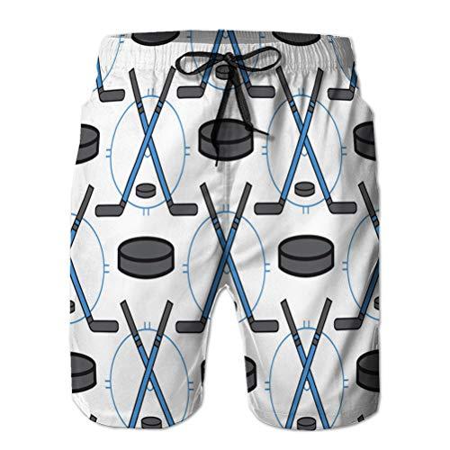jiilwkie Herren Beach Board Shorts Quick Dry Swim Trunk Sport Hockey Ikonen im flachen Design Linie Piktogramm L