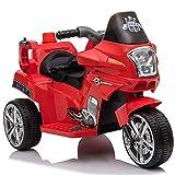 Homcom Moto électrique pour Enfants Chopper Police 6 V env. 3 Km/h 3 Roues Effet Lumineux et sonore Rouge