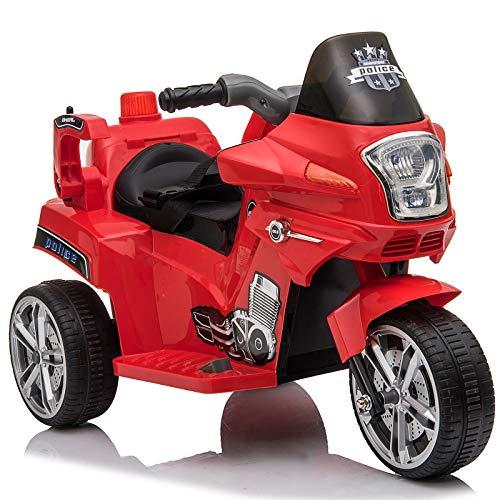HOMCOM Elektrofahrzeug, Kinderfahrzeug, Kindermotorrad, Elektro-Motorrad mit Schutzbügeln, Dreirad, 3-6 Jahre, PP, Rot, 87 x 41 x 54 cm