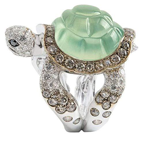 geshiglobal Anillos para mujeres y niñas de moda con incrustaciones de diamantes de imitación de tortuga anillo de boda de compromiso de joyería de regalo, US 9, Aleación, diamantes de imitación.,