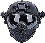 Casque Tactique Airsoft PJ F22, Casque de Protection intégral avec Masque et Lunettes détachables, utilisé pour Les Sports de Plein air tels Que Les Jeux CS