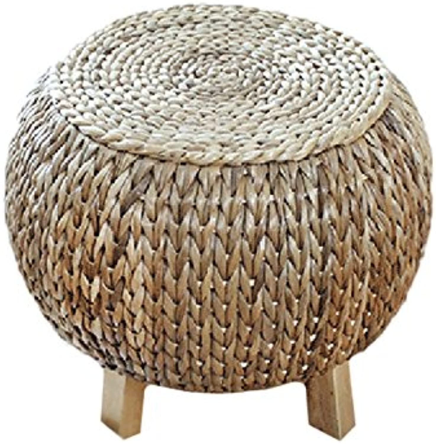 Straw Rattan Sitting Stool Footstool Foyer Change shoes Chair Rattan Round Stool()