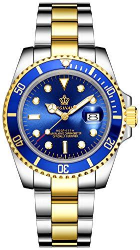Fanmis, reloj de acero inoxidable, plateado y dorado, cuarzo, cuadrante azul, bisel de cerámica y vidrio de zafiro, dos tonos