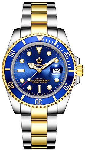 Mens Luxury Watches Ceramic Bezel Mineral Glass Luminous Quartz Silver Gold Two Tone Stainless Steel Watch (Gold Blue)