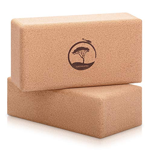 treelifekarma Yoga Block Kork 2er Set - plastikfreie Leichtgewichte - ergonomisch, rutschfest & stabil - Yogaklotz Kork 2er Set - ökologisch, natürlich & nachhaltig - Yogablock 2er Set Kork