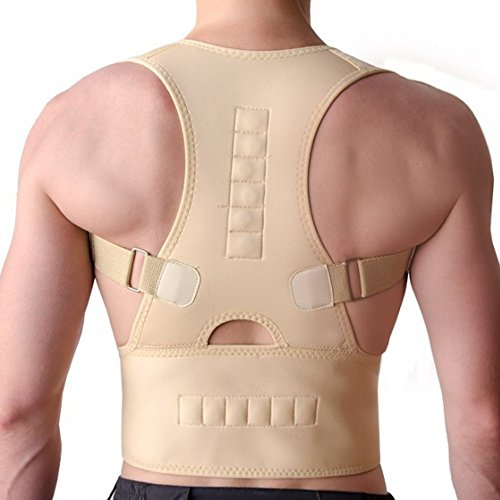 PU Health Pure Acoustics Top Quality Magnetic Posture Corrector Adjustable Strap Back Support Wrap, Large