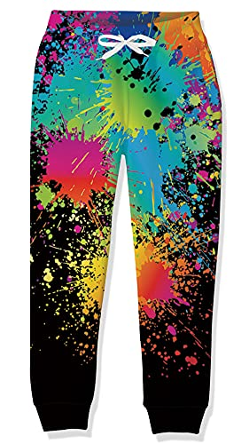 Goodstoworld Pantaloni da Jogging Bambini Ragazzi Pantaloni Sportivi Pantaloni per Ragazze Scuola Sportiva Pantaloni Casual con Tasca Stampe Colorate 10-11 Anni
