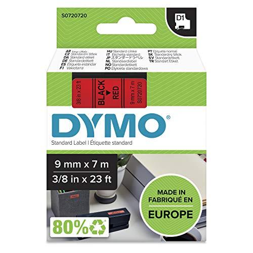 DYMO D1-Etikettenband Authentisch | schwarz auf rot | 9mm x 7m | selbstklebendes Schriftband | für LabelManager-Beschriftungsgerät