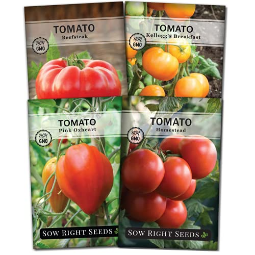 Sow Right Seeds - Tomato Seed Collection for Planting - Beefsteak, Kellogg