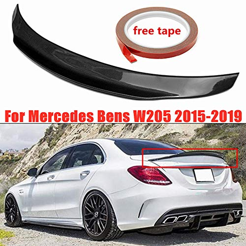 Mophorn Carbon Fiber Rear Trunk Lip Spoiler Waterproof Carbon Fiber Rear High Performance Rear Wing Spoiler for Mercedes Benz W204 C63