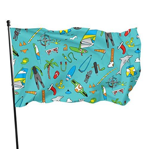 Mesllings Hermosas gafas de sol para windsurf, con bandera de 4 x 6 pies, color vivo, resistente a la decoloración, fibra de poliéster con ojales