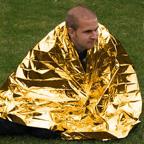 Sleeping bag WZJ-Schlafsäcke Outdoor-Rettungsdecken Außennotfalldecken Isoliermatten Überleben Decken Sonnenschutzdecken Überleben Notfall Rettungsausrüstung (Color : Gold-210x140cm)