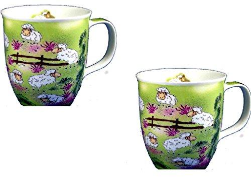 magicaldeco 2 Stück- Porzellan- Tasse, Kaffeepott, Becher - Lüneburg - Schafe -deutsches Produktdesign