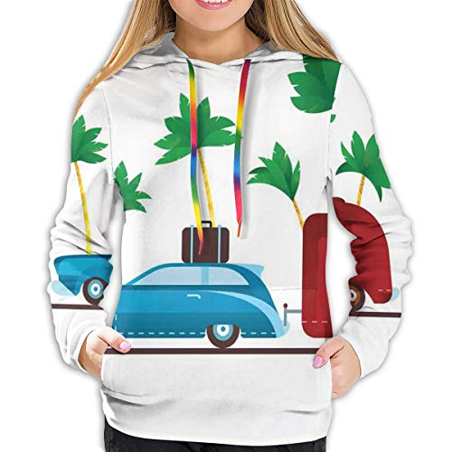 FULIYA Women's Hoodies Tops,Colorful Travel Cartoon Tropical Palm Trees with Retro Vehicle and Suitcase,Lady Fashion Casual Sweatshirt(XL)
