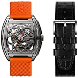 CIGADesign Watch for Men Z Series Titanium Watch Automatic Mechanical Wristwatch Steampunk Skeleton Business Fashion Watches with Silicone and Leather Strap