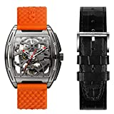 CIGADesign Skeleton Watch for Men Z Series Titanium Watch Automatic Mechanical Wristwatch Steampunk Business Fashion Watches with Silicone and Leather Strap