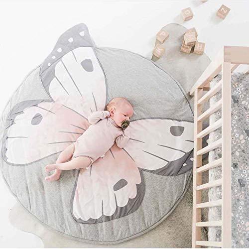 Homieco Cartone animato carino Tappeto rotondo Il bambino ama Gioca al tappetino Sfondo di fotografia di bambino Asilo nido Decorazione della stanza,Farfalla