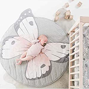 HOUTBY Cute Cartoon Round Carpet Rug Baby Loves Playmat Kid Photograph Background Nursery Kids Room Decoration, Butterfly