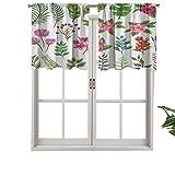 Hiiiman Cenefa de cortina con bolsillo para barra de cortina, juego de flores exóticas, helechos, elementos botánicos, variedad de flora, juego de 1, 106,7 x 45,7 cm para decoración de interiores