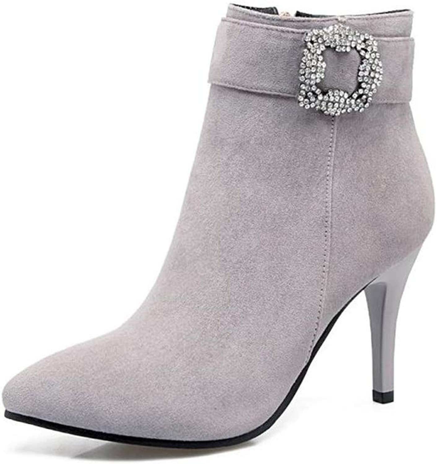 CHENSF Women's Strap Buckle Stiletto Heel Ankle Booties