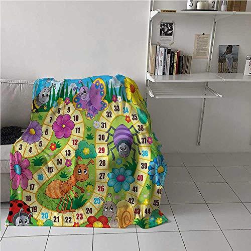 Flannel Blanket Throw Board Game Velvet Plush Soft Throw Blanket Kids Theme Spring Meadow Best Gift for Women, Men, Kid, Teen 60x80 Inch