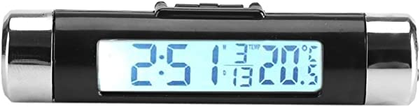 Car Clock Thermometer LCD Thermometer Automotive Digital Backlight Clock Monitor Clip On Truck Car White Backlight
